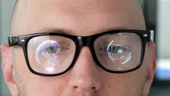 Thumbnail for Eyes with Virtual Projections on 3d Glasses Lenses