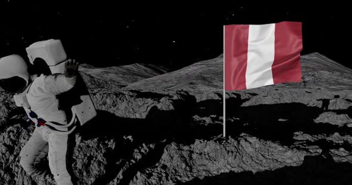 Astronaut Planting Peru Flag on the Moon
