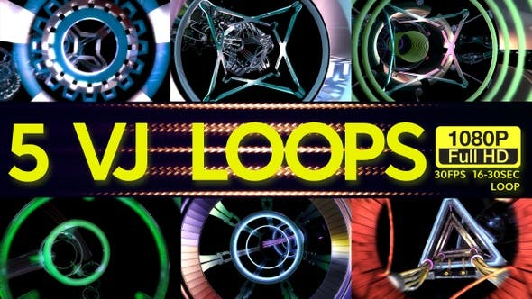 Thumbnail for Flying Through Tunnels VJ Loops 5 In 1