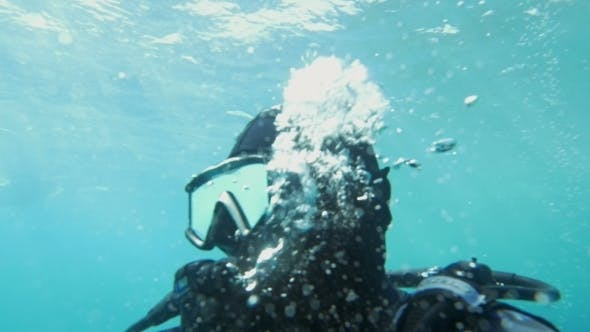 Thumbnail for Diver Breathing Under The Water
