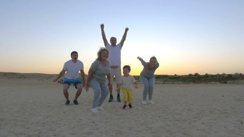 Happy People Jumping Up