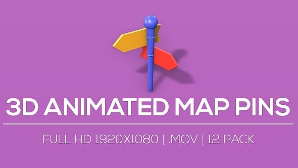 3D Animated Map Pins V2 - 12 Pack