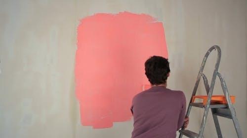 Girl Spoils Guy Painting Work