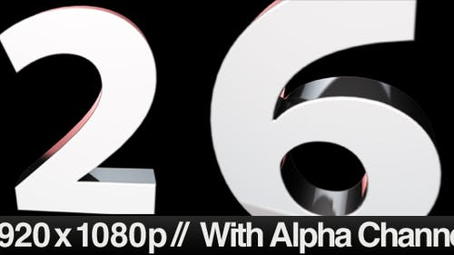 3D 10 Second Countdown - Zooming Out