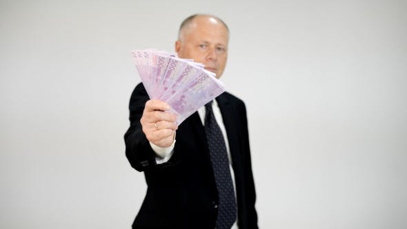 Thumbnail for Old Businessman Showing Euro Banknotes