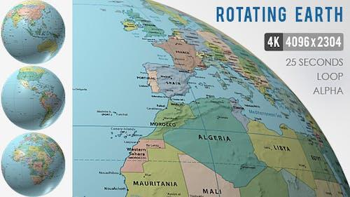 Rotating Globe World Political Map - 4K