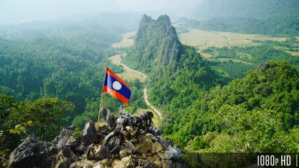 Thumbnail for Top Mountain View of Beautiful Limestone Cliff Landscape of Nam Xay Mountains Vang Vieng, Laos