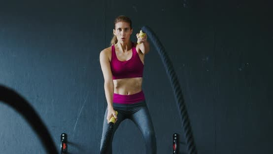 Thumbnail for Athletic Woman Battle Rope Workout