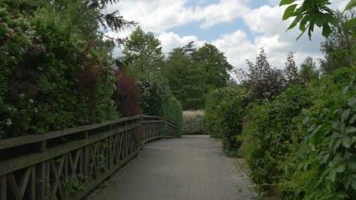 Wooden Bridge Through The Green Park, Wooden