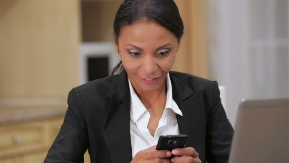 Thumbnail for Busy Business Woman Texting On Her Cell Phone
