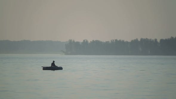 Thumbnail for Silhouette Of a Fisherman On a Boat