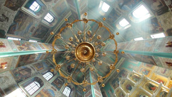Thumbnail for Big Old Chandelier In Christian Orthodox Church