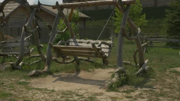 Thumbnail for Two Wooden Swings, Swinging, Green Meadow, Hill,