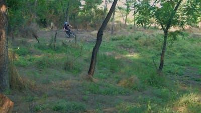 Long Jump On Springboard Of Biker
