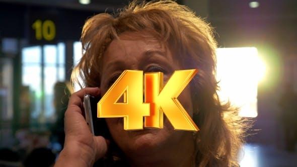 Thumbnail for Senior Woman Having a Vivid Phone Talk At Airport
