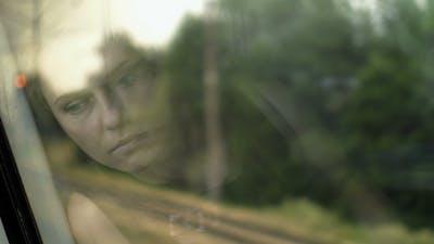 Sad Girl Reflection On Window