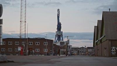 Harbor Buildings And Crane In Aarhus