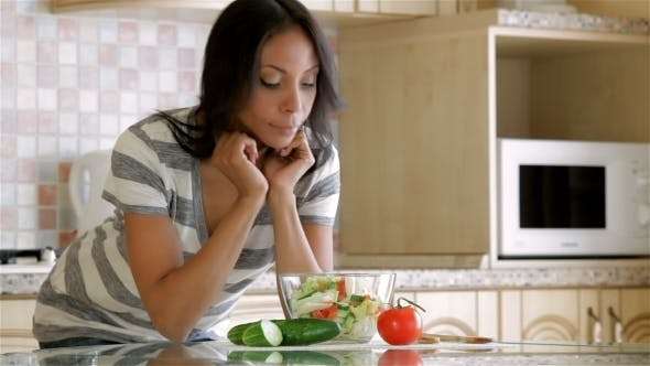 Thumbnail for Beautiful Woman Eating Salad