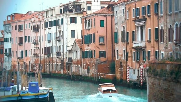 Thumbnail for Motor Boat Sailing Along The Water Canal In Venice