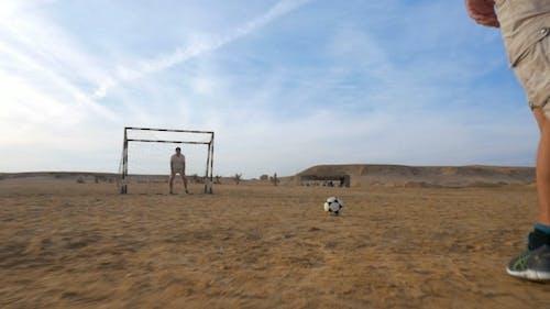 Goal Attempt In Beach Football
