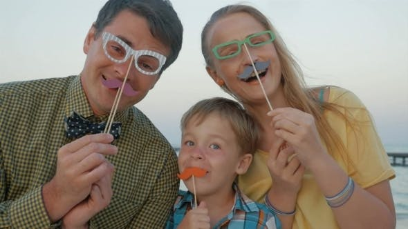 Thumbnail for Happy Family With Hipster Accessories Outdoor