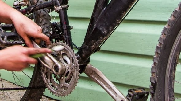 Thumbnail for Human Hand Cleaning Bicycle Chainring With Brush