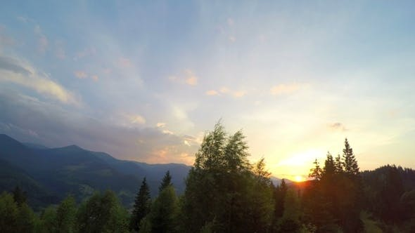 Sunset in Carpatian Mountains.