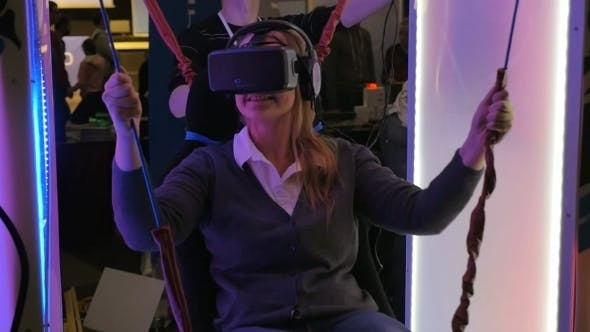 Thumbnail for Woman Entertaining On VR-attraction
