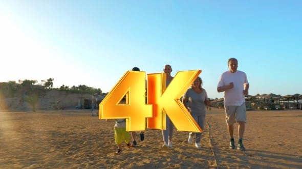 Thumbnail for Sportive Family Running On The Beach