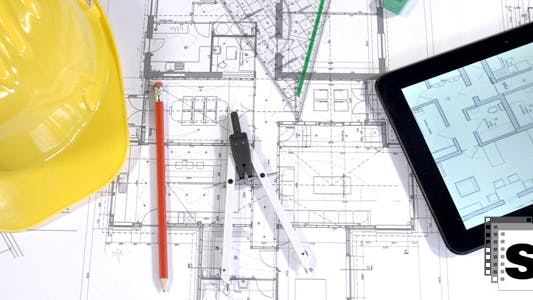 Thumbnail for Architects Blueprints And Drawing Instruments