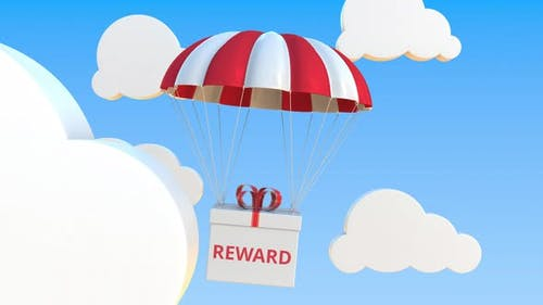 Box with REWARD Text Falls with a Parachute