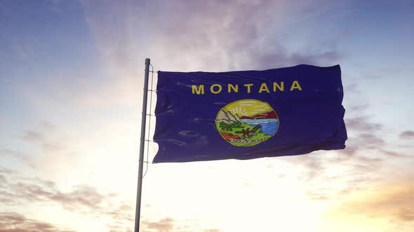State Flag of Montana Waving in the Wind