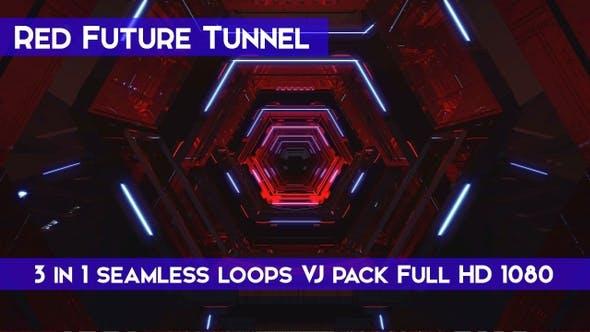 Red Future Tunnel VJ Loops
