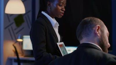 Entrepreneur Black Woman Explaining Management Strategy Using Tablet