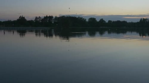 Rippling Water Closeup, Horizon,Trees`