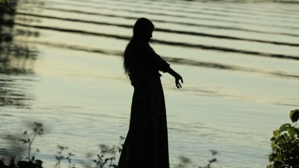 Thumbnail for Young Girl Walking Near The Pond, Beautiful Large