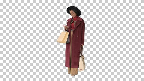 Thumbnail for Smiling African american fashion girl, Alpha Channel
