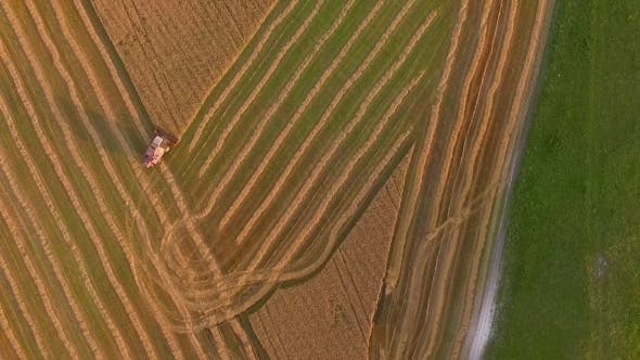 Thumbnail for AERIAL VIEW. Of Farm Machinery In The Field