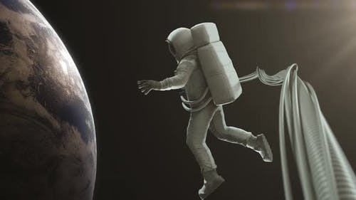 Astronaut schwimmt im Weltraum