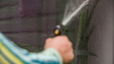 Human Hand Washing Window Of House