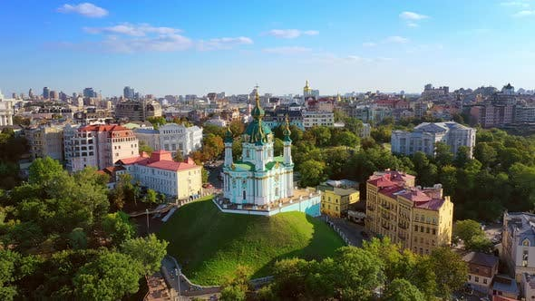 Thumbnail for Aerial Drone Video Famous St. Andrews Church and Panorama of Kyiv, Ukraine