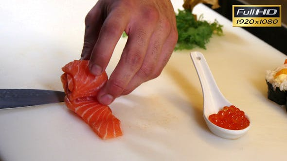 Sushi Chef Preparing Salmon Roes Sashimi Flower