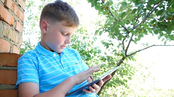 Thumbnail for Caucasian Boy In The Park With Laptop