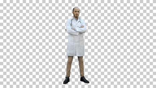 Serious medical worker standing and folding, Alpha Channel