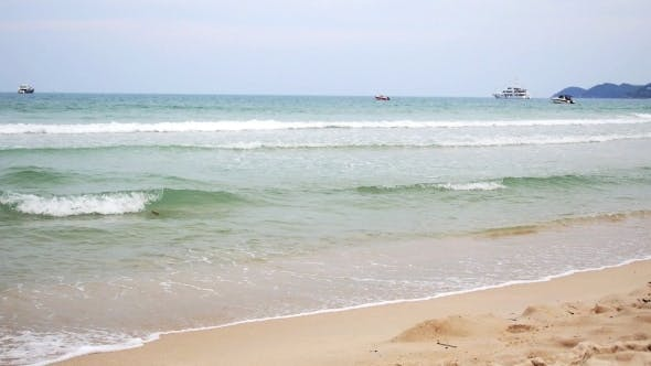 Thumbnail for Thailand Beach With Big Waves. Beautiful Windy