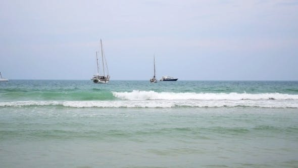 Thumbnail for Sailing Boats Dancing On Waves At Deep Blue Sea