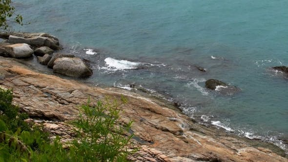 Thumbnail for Panoramic View Of Cliffy Coast And Sea With Foamy