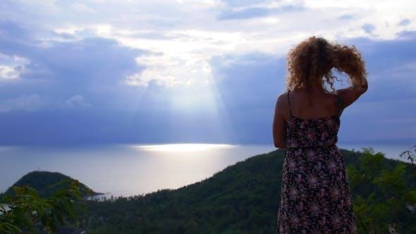 Thumbnail for Woman Enjoys Picturesque Sea View. Thailand. Koh