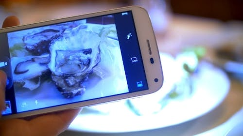 Taking Shots Of Oysters With Smart Phone