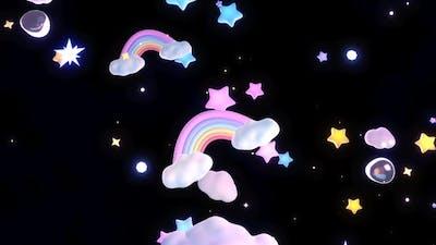 Rainbow Clouds And Stars Sky